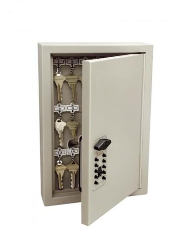 Armoire Keysafe 30 clés à ouverture par code mécanique, ouverte avec des clés suspendues à l'intérieur