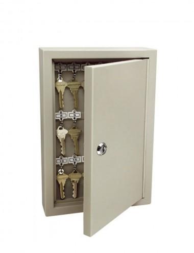 Armoire Keysafe 60 clés ouverture par clé, ouverte, des clés sont suspendues à l'intérieur
