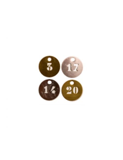 Marqueurs en laiton ronds numérotés par ajourage