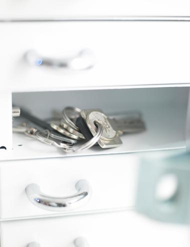 Intérieur d'un casier pour clé