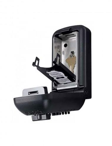 Boite à clé Pro grand format noir ouvert, avec une clé à l'intérieur